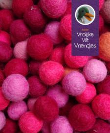 Wolballen roze-paarsrood mix 24stuks