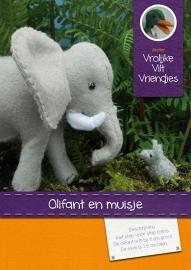 Patroonblad olifant met muisje