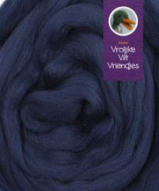 Lontwol marineblauw