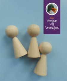 Kegeltjes 3,7 cm hout met neusje