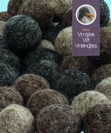 Wolbal 64 stuks bruin-bruinbeige en grijs
