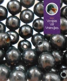 Zwarte houten kralen 6mm