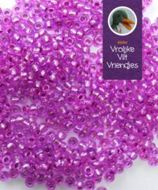 Rocailles lila met zilver kern