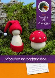 Kabouter en paddenstoel blank
