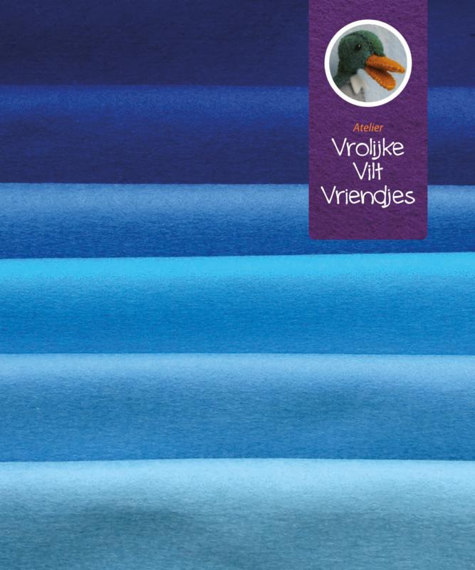 Wolvilt pakket blauwtinten 15-20 cm