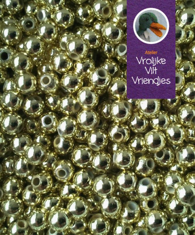Parelkralen goudkleur 4mm