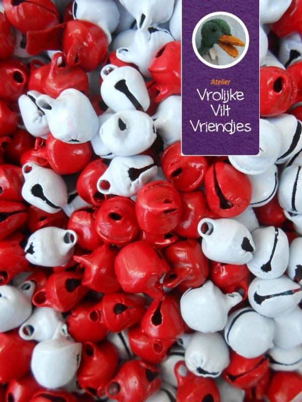 Belletjes rood-wit 24 stuks