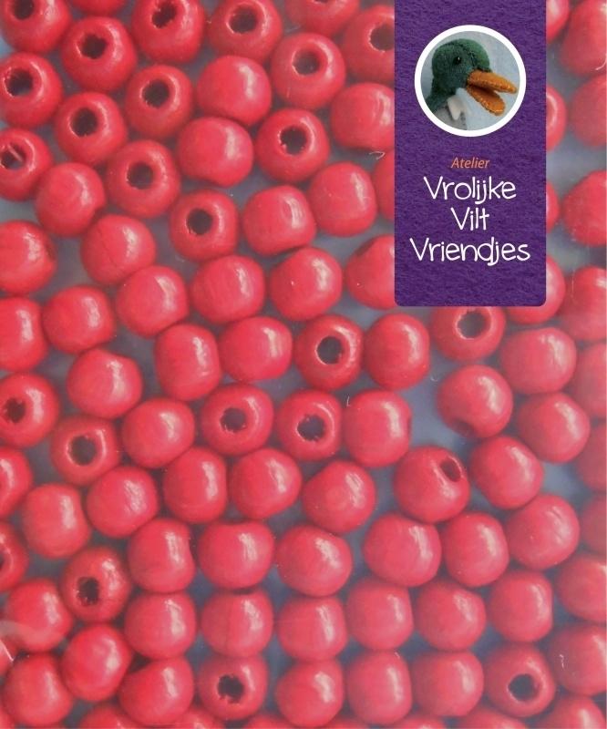 Rode houten kralen 4 mm