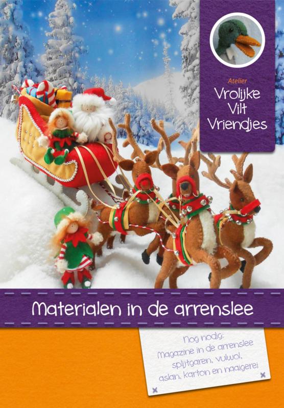 Materialenpakket arrenslee, rendieren, Kerstman en 2 elfjes (excl. patroon )