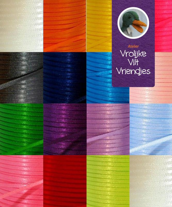Satijn lint 3mm diverse kleuren