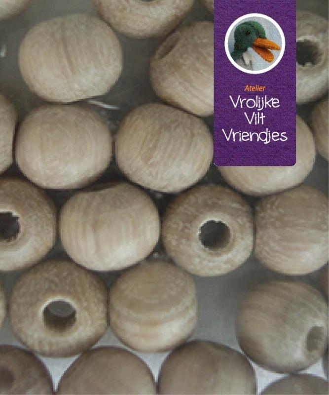 Blank houten kraal halve boring 20 mm