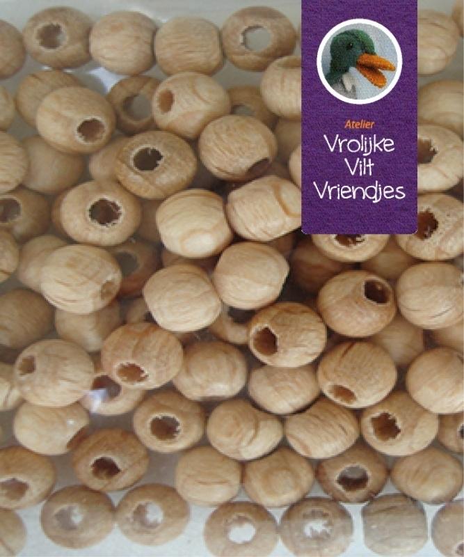 Blank houten kralen 12mm  (12 stuks)