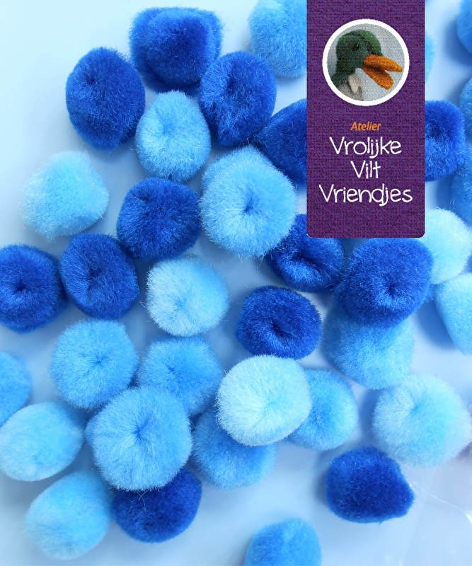 pompons 15mm mix blauwtinten