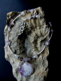 183  Necklace with nice Agate stone, Rosequarts  and  Amethyst.