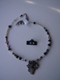 033 Sterling Silver basket with flowers and Slate-beads