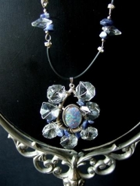 047 Blauwe Opaal en zilver