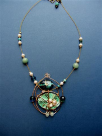 Necklace blue and green. Sold.
