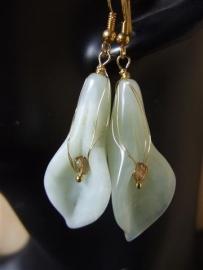 216 Vermeil met witte jade en kristal, oorbellen