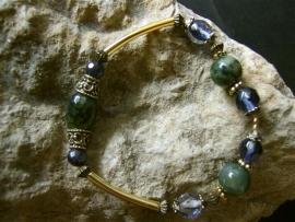 A104  Armband van groene Agaat en blauwe Zandsteen