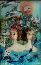 102  Blauw stadje met twee vrouwen