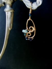 271 Aquamarine and Cristals in wire wrapping,