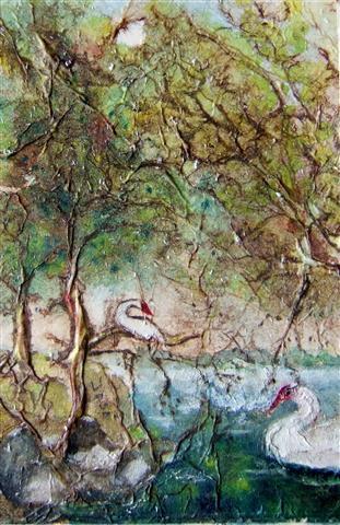 Landschap met twee zwanen