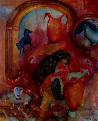 Vrouw met clown en paarden