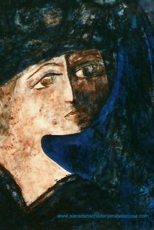 Vrouw in blauw.