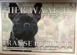 WAAKBORD FRANSE BULLDOG HIER WAAK IK
