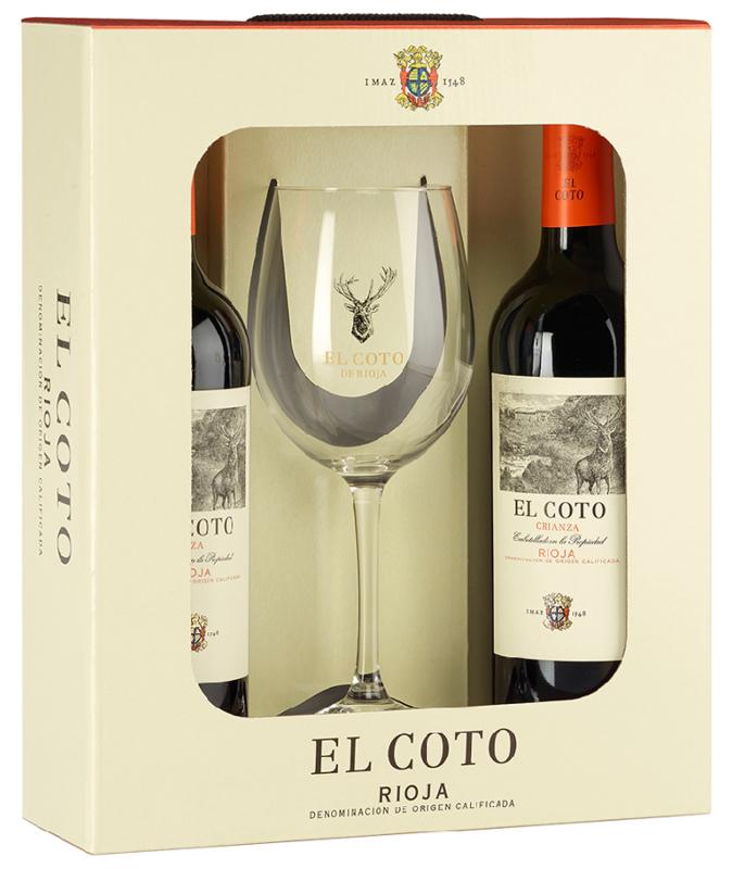 El Coto Crianza Rioja DOCa -  2 flessen met glas - geschenkdoos