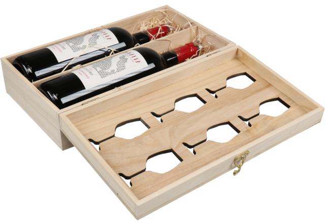 Geschenkkist Wijn met wijnglas - 2 flessen