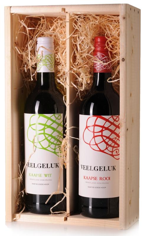 Wijngeschenk Veelgeluk Weskaap - in 2 vaks wijnkist
