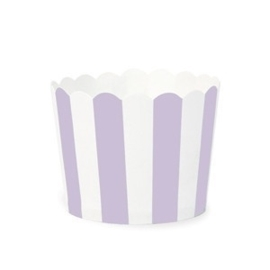 Cupcakebakjes wit met paars gestreept