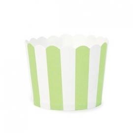 Cupcakebakjes wit met groen gestreept