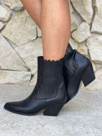 BABOUCHE - WESTERN CITY BOOTS BLACK LEATHER