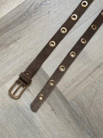 MUSTHAVE GOLD RING BELT SUEDE TAUPE