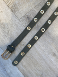 MUSTHAVE GOLD RING BELT SUEDE ARMY GREEN