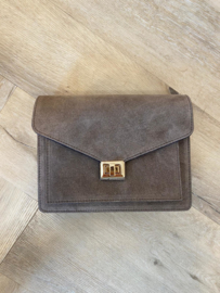 BEAU BAG SUEDE TAUPE GOLD/SILVER