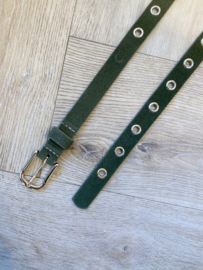 GOLD RING BELT SUEDE ARMY