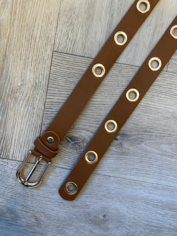 MUSTHAVE GOLD RING BELT CAMEL