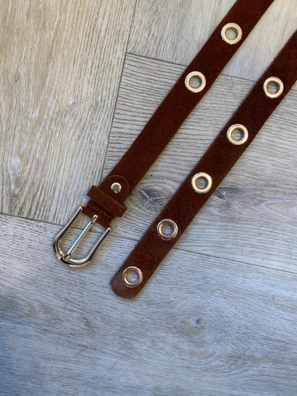 MUSTHAVE GOLD RING BELT SUEDE COGNAC