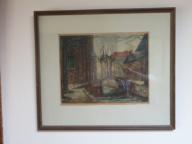 Kleurets Oude Delft te Delft, Johan D. Scherft, 1891-1969, 54 x 47 cm