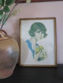 Oude litho van een meisje met appels, ca. 1930