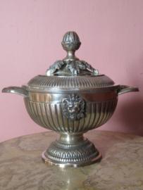 Antieke verzilverde bonbonniere bowl met deksel