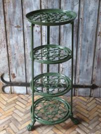 Oude Engelse gietijzeren etagere plantentafel pannenstandaard