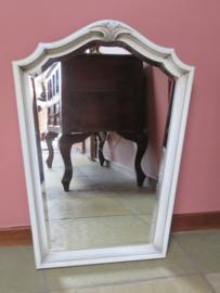 Oude brocante Franse spiegel in craquelé houten lijst, 63 x 45 cm