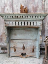 Antieke Franse houten kapstok keukenrek