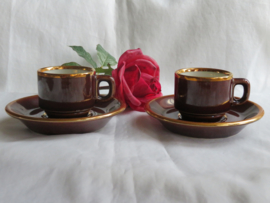 Vintage espresso kop en schotels, Made in France, set van 2 stuks