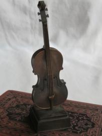 VERKOCHT Miniatuur bronsmetalen viool (puntenslijper)