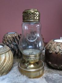 Antiek Jugendstil olielampje koper en glas, gemerkt Henga